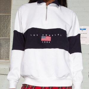 John Galt White LA 1984 Half Zip Sweatshirt